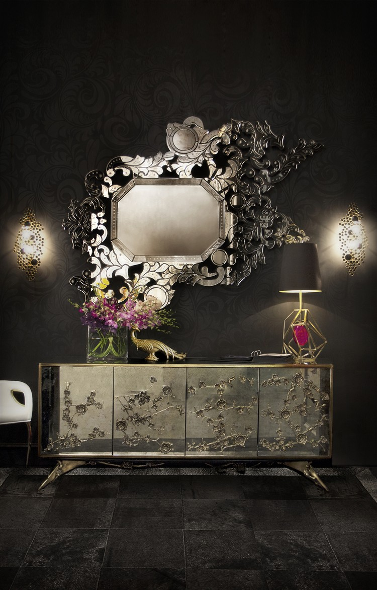 Give Your Home Decor a Romantic Vibe With These Feminine Sideboards Home Decor Give Your Home Decor a Romantic Vibe With These Feminine Sideboards addicta mirror spellbound cabinet eternity sconce gem table lamp chandra chair koket projects