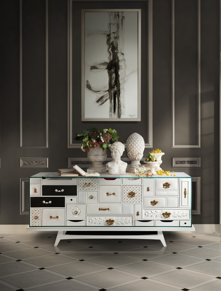 mondrian_white buffets and cabinets 4 Secrets to Style Your Buffets and Cabinets mondrian white