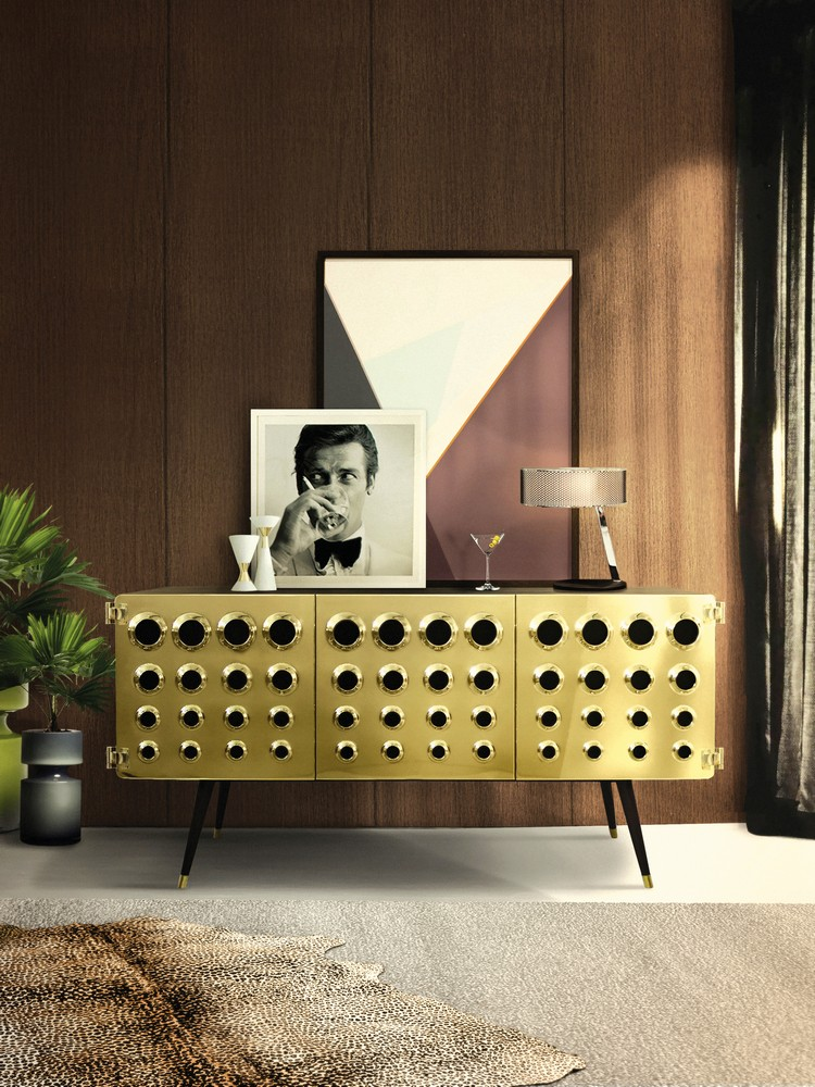 MONOCLES Sideboard by Delightfull is the right choice for mid century interiors.  Buffets and Cabinets Enhance your Dining Room with Stunning Buffets and Cabinets delightfull monocles vintage retro urban wood brass sideboard 01