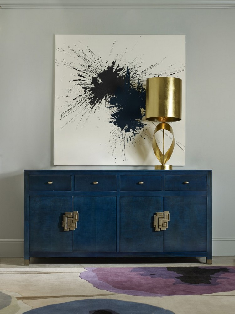 How to Display Artwork in Your Modern Sideboard  Sideboard How to Display Artwork in Your Modern Sideboard Navy Blue Buffets and Cabinets for This Spring 8