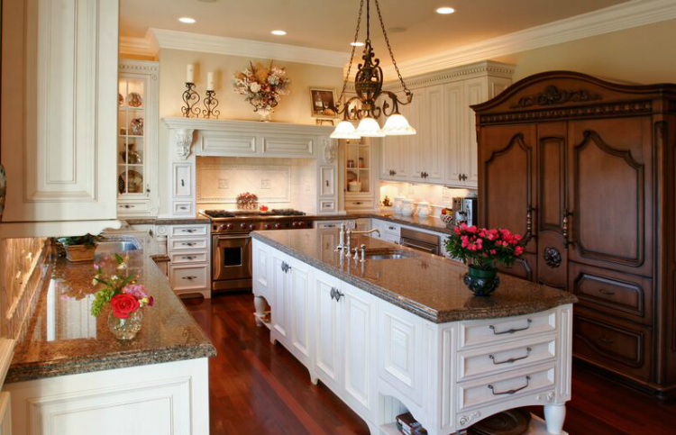 kitchen-cabinets-traditional-two-tone-006-s13499080-antique-white-wood-hood-island-luxury antique cabinets 5 Antique Cabinets For Your Classic Kitchen kitchen cabinets traditional two tone 006 s13499080 antique white wood hood island luxury