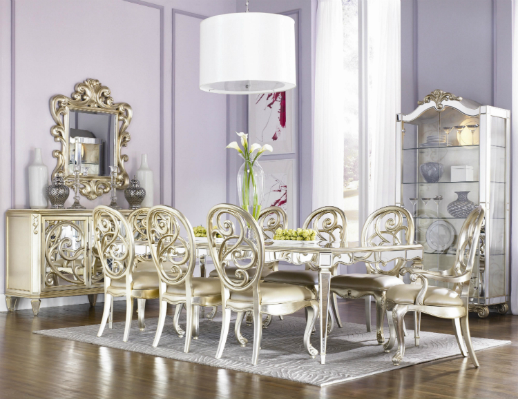 Silver Buffets And Cabinets Inspiring Mirrored Dining Tables For Sale