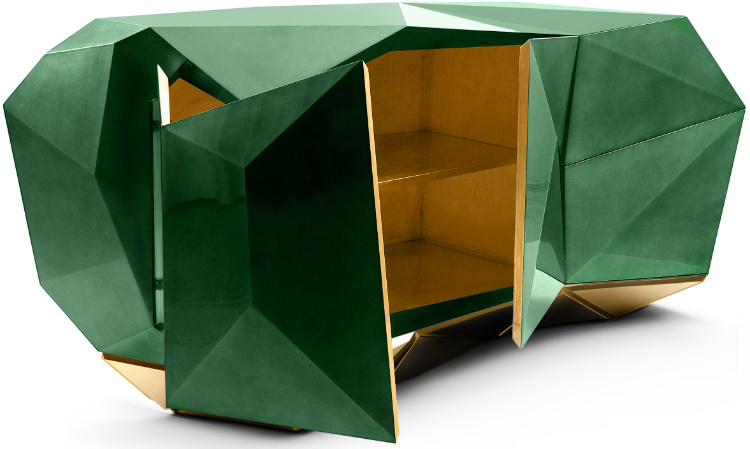 Diamond Emerald Contemporary Cabinet by Boca do Lobo
