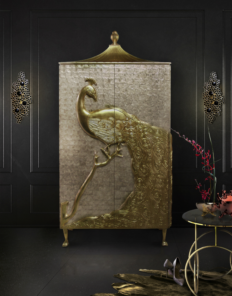 Golden Finishes Golden Finishes Refined Buffets and Cabinets With Golden Finishes camilia armoire kiki side table eternity sconce koket projects