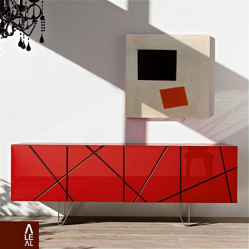 Red Buffet Buffets and Cabinets Colorful Buffets and Cabinets for a Joyful Interior Design L 7008 Aleal Stripes Sideboard WEB