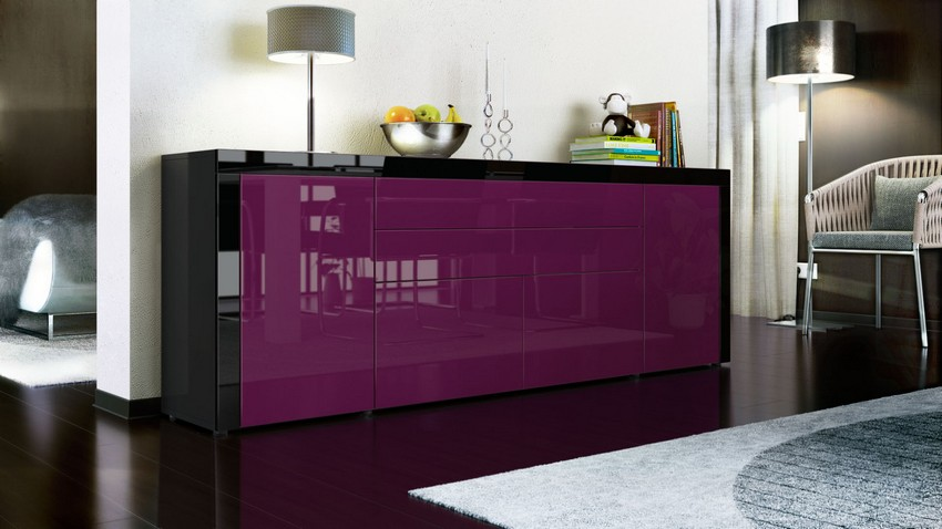 Purple Buffet Buffets and Cabinets Colorful Buffets and Cabinets for a Joyful Interior Design lapazv2 sideboard schwarz brombeer schwarz