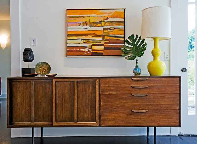 francis sultana Francis Sultana's Best Buffets and Cabinets Design mid century modern loveseat Family Room Transitional with credenza vignette vintage artwork vintage credenza vintage lamp vintage storage