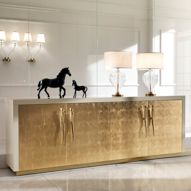Golden Buffets Golden Buffets for a sophisticated Interior Design Large High End Gold Leaf Sideboard 1