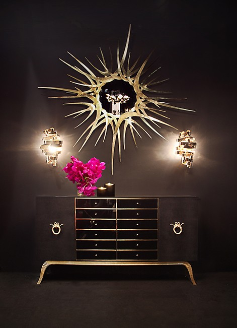 Luxury Gold and Black Buffets and Cabinets  modern interiors Luxury Gold and Black Buffets and Cabinets for Modern Interiors guilt mirror sinful console chloe sconce projects