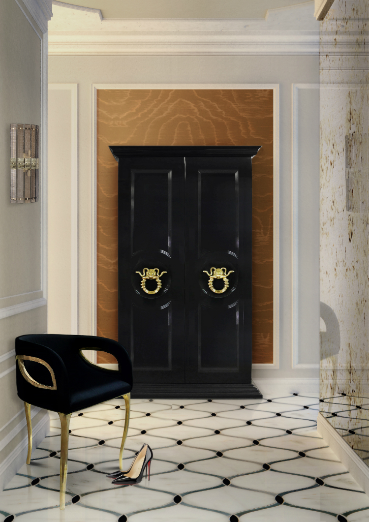 Luxury Gold and Black Buffets and Cabinets  modern interiors Luxury Gold and Black Buffets and Cabinets for Modern Interiors parisian armoire koket projects