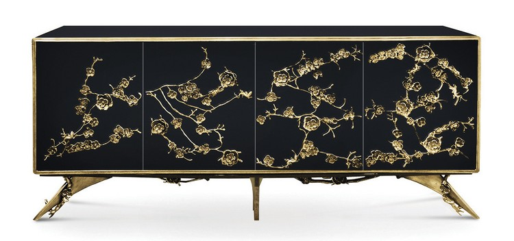 Luxury Gold and Black Buffets and Cabinets  modern interiors Luxury Gold and Black Buffets and Cabinets for Modern Interiors spellbound cabinet 1