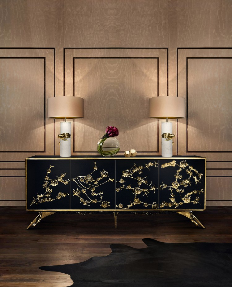 Luxury Gold and Black Buffets and Cabinets  modern interiors Luxury Gold and Black Buffets and Cabinets for Modern Interiors vengeance table lamp koket projects