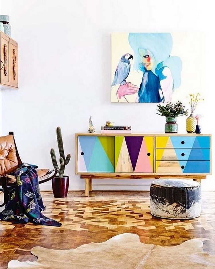 Colorful Buffets for Happy Interiors Colorful Buffets Colorful Buffets for Happy Interiors 5 Simple Geometric Paint Decor Ideas 5