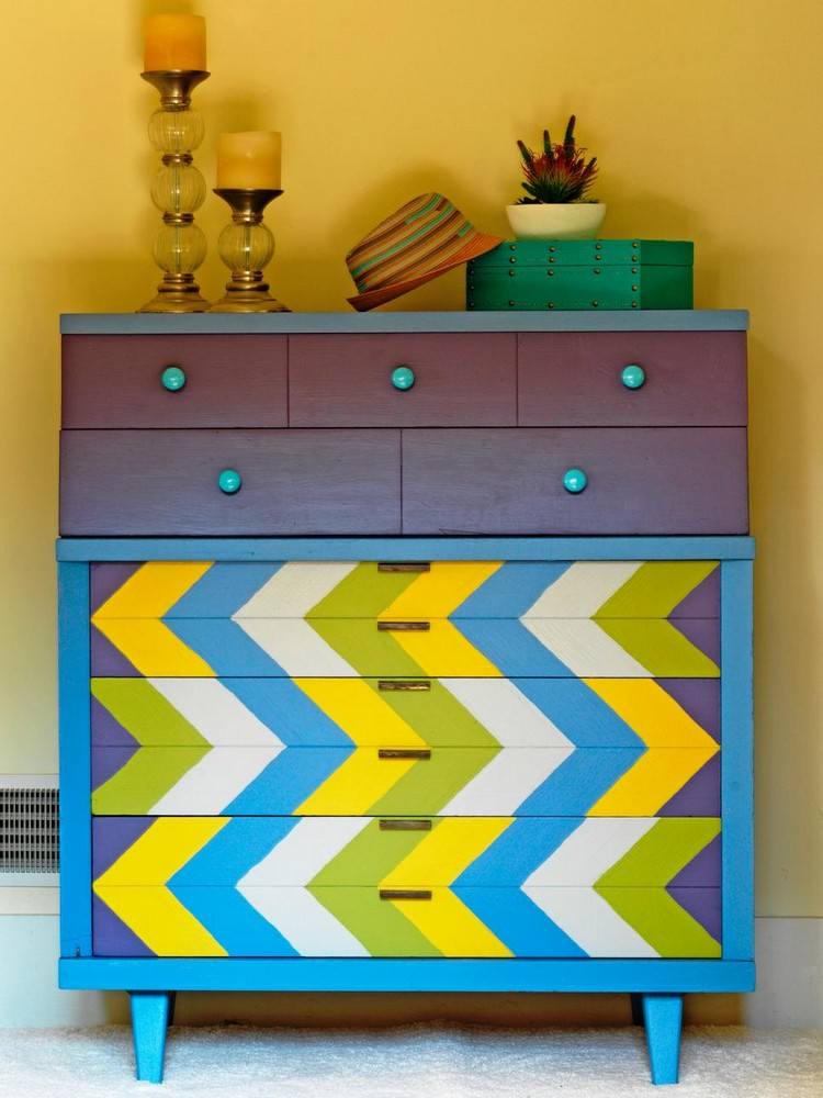 Eclectic Style Get an Eclectic Style with Geometry in furniture CI Susan Teare Chevron painted Dresser v