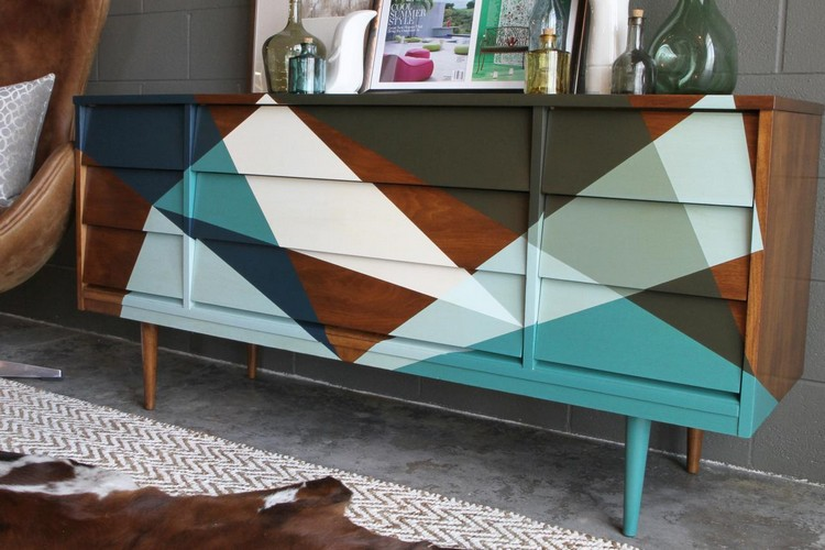 Get an Eclectic Style with Geometry in furniture Eclectic Style Get an Eclectic Style with Geometry in furniture Original Samantha Pattillo Credenza Painting Final4