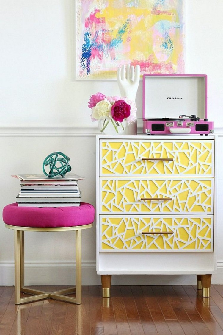 Get stylish with Geometry in furniture Eclectic Style Get an Eclectic Style with Geometry in furniture ikea hack rast dresser with bold geometric wood overlays the yellow painted drawer
