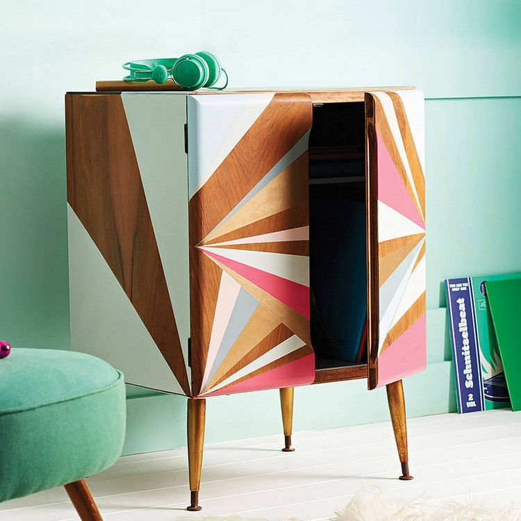 Get an Eclectic Style with Geometry in furniture Eclectic Style Get an Eclectic Style with Geometry in furniture original geometric painted record cabinet 2