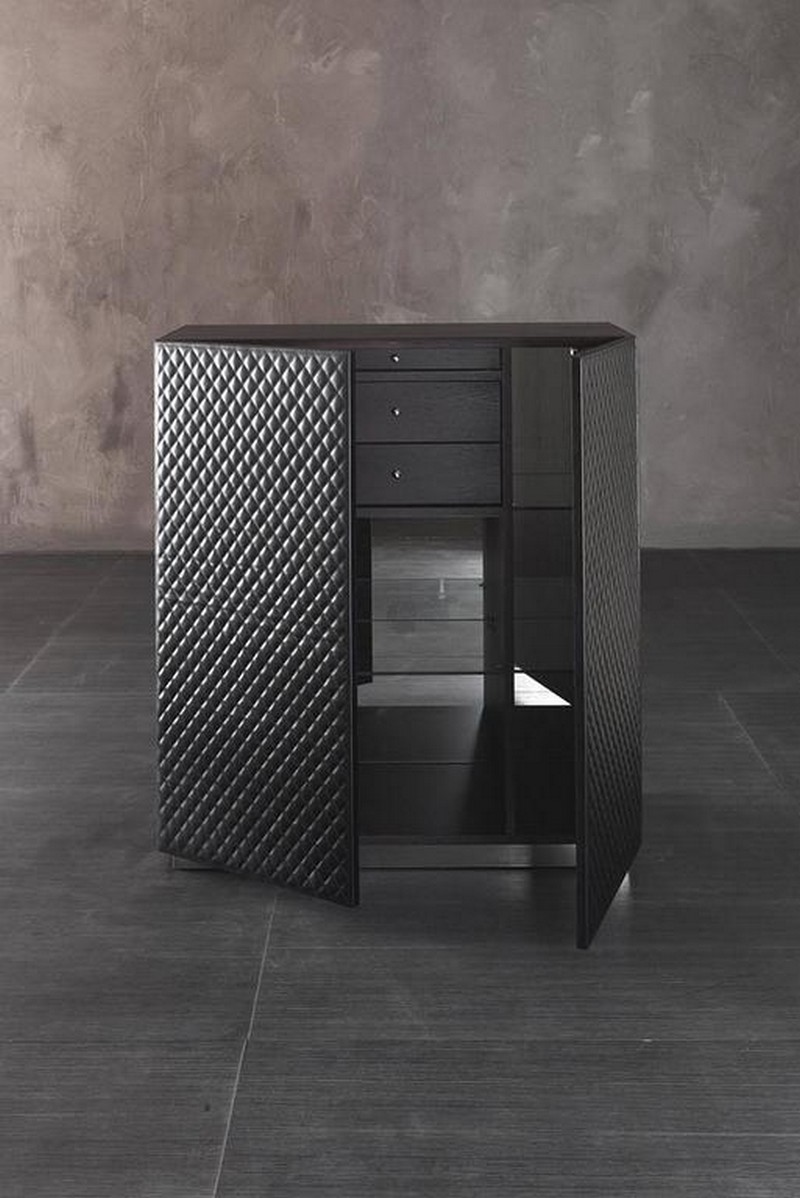 fabric finishes fabric finishes 15 Finest Cabinets with Fabric Finishes 12 Capitone Bar or Cabinet in Dark Oak and Genuine Leather