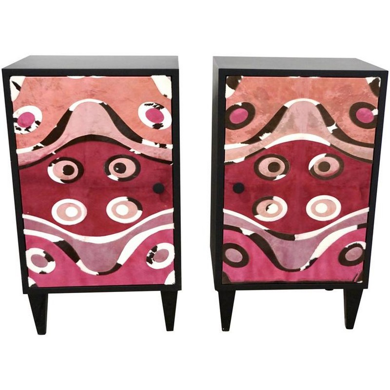 fabric finishes fabric finishes 15 Finest Cabinets with Fabric Finishes 6 Contemporary Italian Pair of Black Lacquered and Rose Pink Leather Side Cabinets