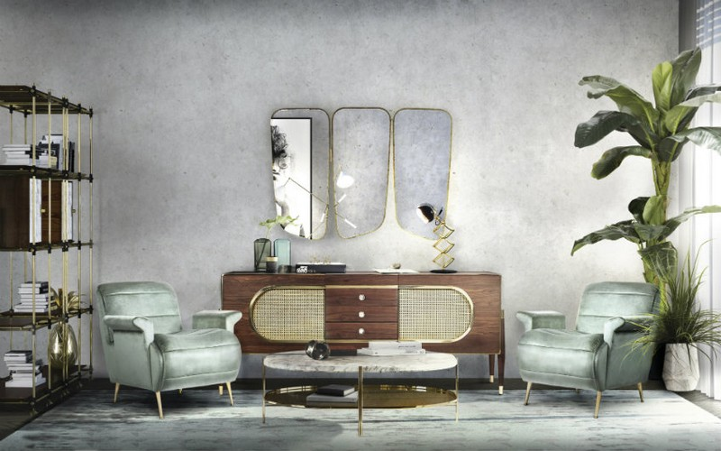 sideboards and mirrors Perfect Matches: Sideboards and Mirrors in your Home Decor diamnd mirror sideboardessential home living room 01