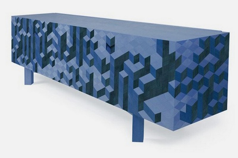 sideboard designs 50 Most Creative Sideboard Designs blue Creative Sideboard Featuring 3D Patterned Veneer