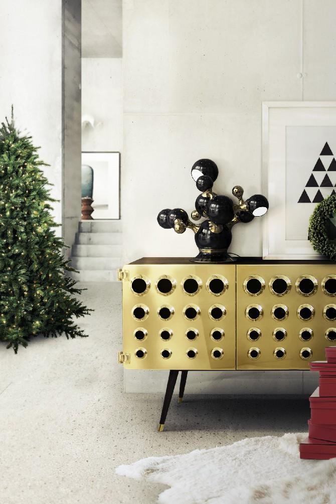 christmas decoration Christmas Decoration: The Best Sideboards for the Holidays delightfull Atomic Sputnik Multi Light Sculptural Sphere Sideboard Lamp christmas