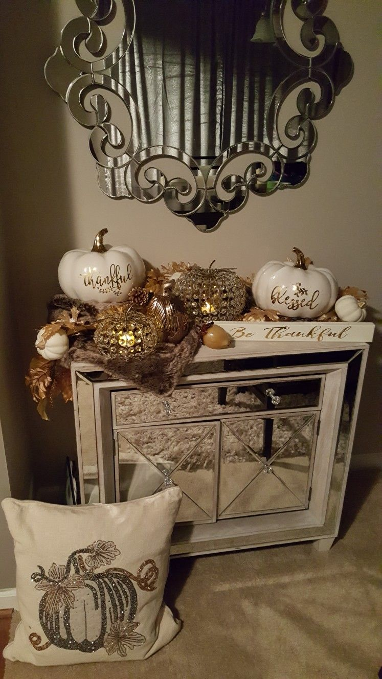 thanksgiving 10 Striking Top Interior Designers Thanksgiving Sideboard Decorations pumpkin