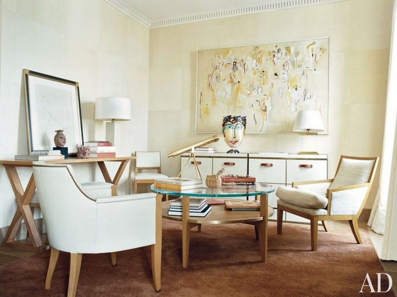 top interior designer The Amazing projects of Top Interior Designer Stephen Sills traditional office manhattan apartment