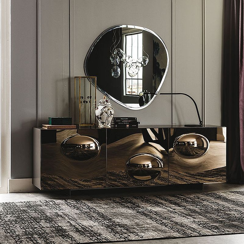 Contemporary sideboards contemporary sideboards 5 Truly Unique Contemporary Sideboards Designs 4 Bronze convex mirrored glass creates a cool sideboard with plenty of glint