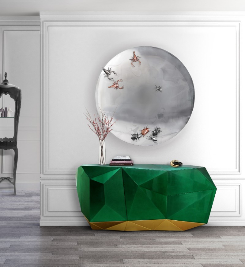 sideboards Use Sideboards To Add A Statement To Your Master Bedroom ambience diamond emerald and concave metamorphosis mirror