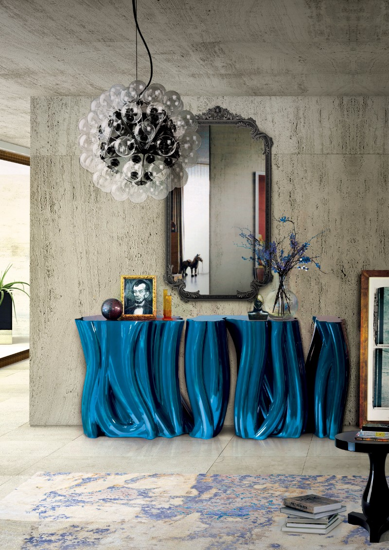 entryway table Select The Perfect Entryway Table For Your Luxury Living Room monochrome blue