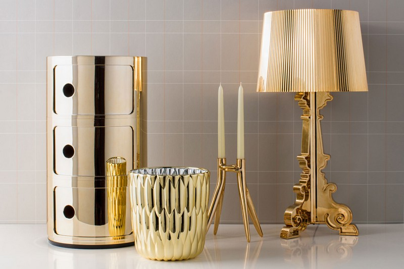 kartell The Stunning Componibili Collection by Kartell kartell accessory gold fa 1