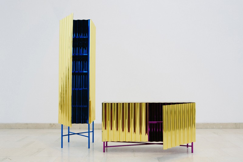 unique designs Unique Designs Unique Designs: Gold-chrome Cabinet and Console by Lanzavecchia + Wai 1 Steel Furniture