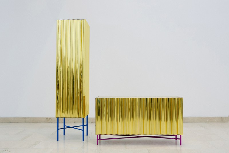 unique designs Unique Designs Unique Designs: Gold-chrome Cabinet and Console by Lanzavecchia + Wai 3 Steel Furniture