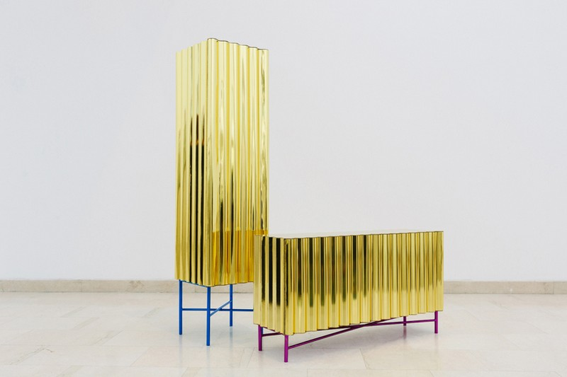 unique designs Unique Designs Unique Designs: Gold-chrome Cabinet and Console by Lanzavecchia + Wai 8 Steel Furniture