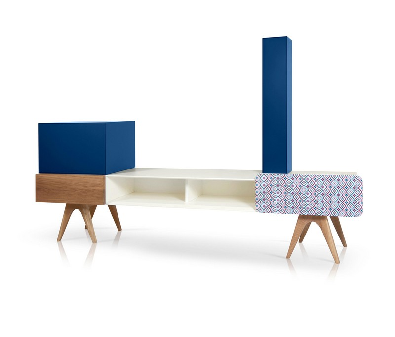tv cabinet Best Furniture: Colorful Tv Cabinet by Sotiris Lazou 01 The Bo Em 006 A B C is a creative and modern TV stand with enough storage space and colorful compartments