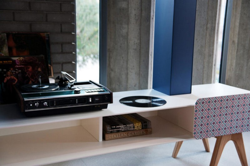 tv cabinet Best Furniture: Colorful Tv Cabinet by Sotiris Lazou 02 The design is modern and bold I love the mix of blue and white and patterned parts