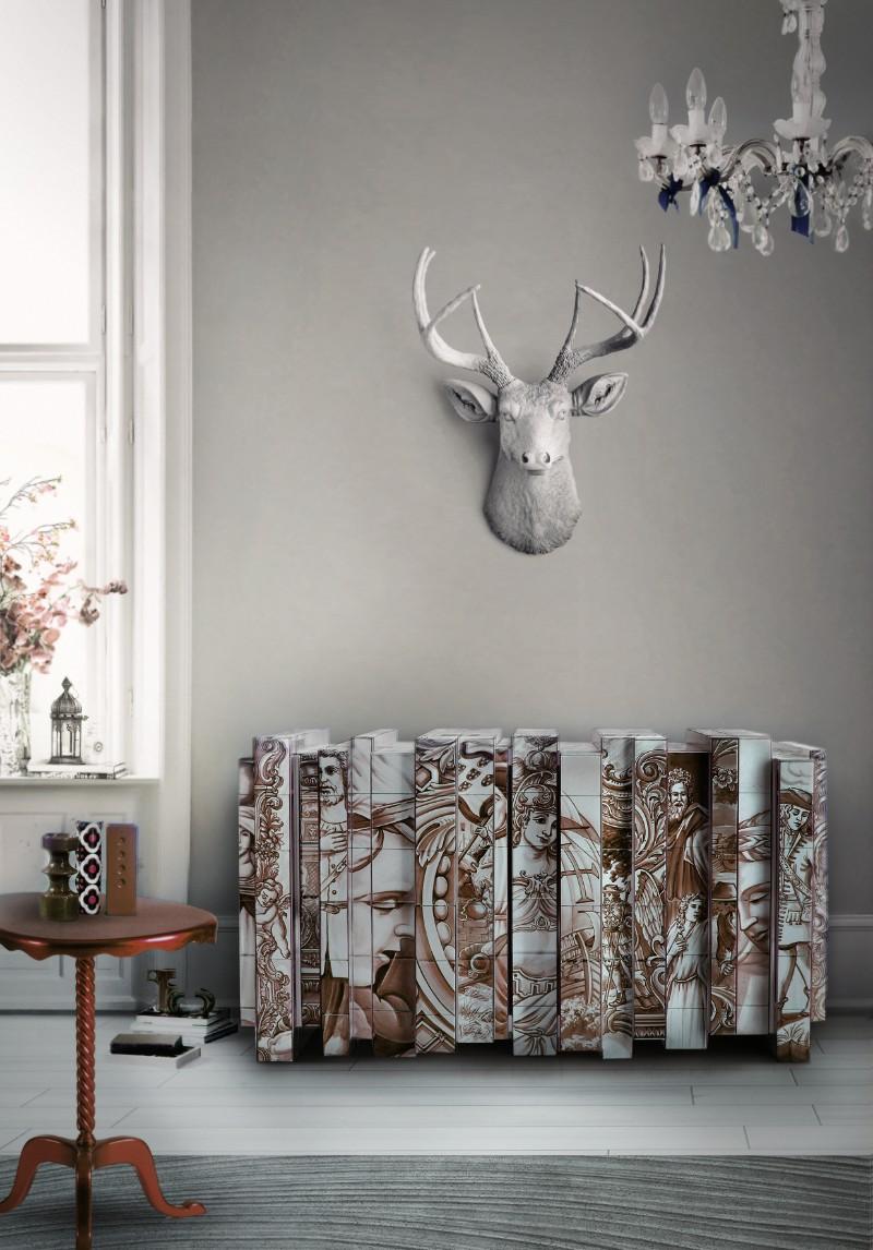exclusive furniture Arts & Crafts Behind Boca do Lobo's Exclusive Furniture: Azulejo heritage sepia sideboard 02 Copie