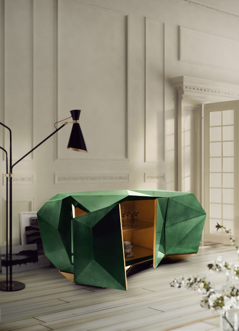 contemporary sideboards, modern sideboard, luxury furniture, bedroom décor ideas, bedroom design ideas, sideboard, interior design, luxury brands, contemporary sideboards The Most Contemporary Sideboards For A Bedroom diamond emerald bocadolobo