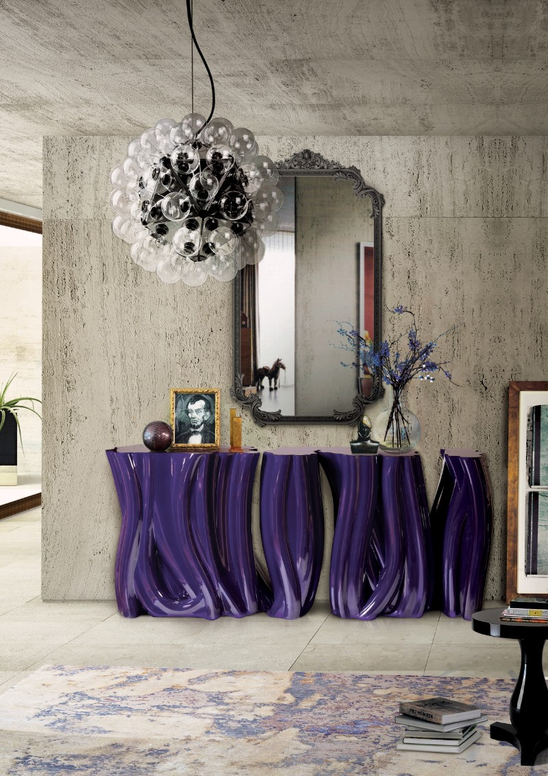 modern sideboard 10 Tips on How to Stylish your Modern Sideboard monochrome purple