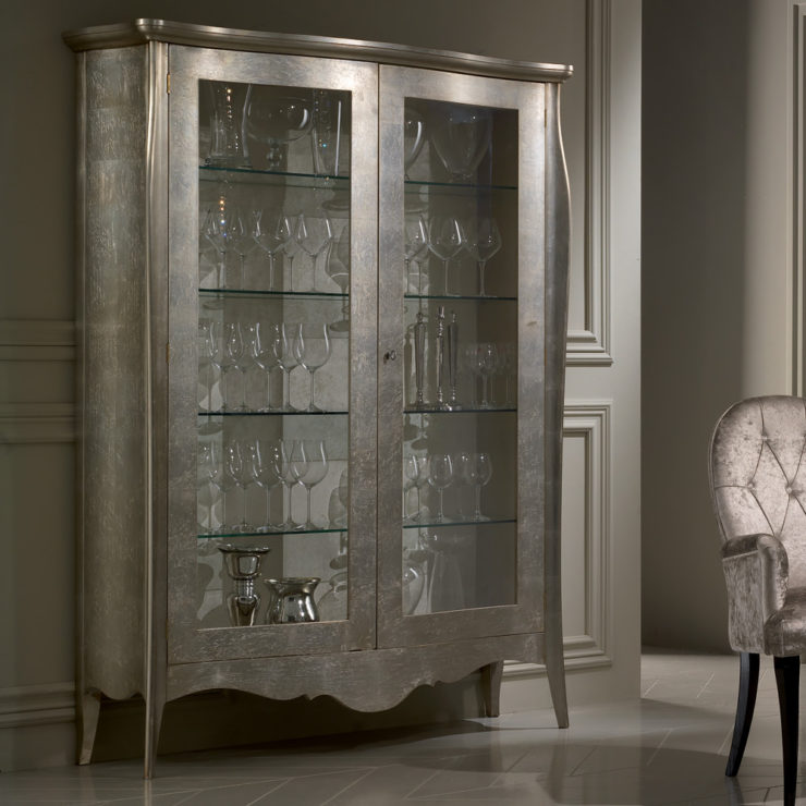 glass cabinets 10 Glass Cabinets For A Luxury Home splendid luxury champagne leaf double door display cabinet juliettes interiors with regard to incredible display cabinet highest quality images for your home 740x740 1