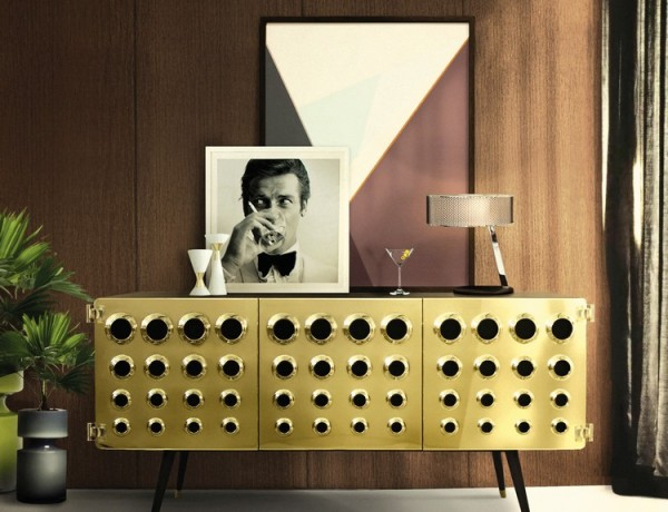 Modern Buffets for a dining room design delightfull monocles vintage retro urban wood brass sideboard 01 600x460
