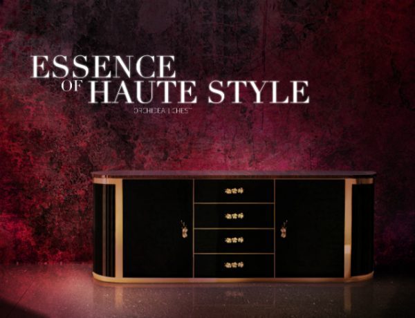 modern interiors Luxury Gold and Black Buffets and Cabinets for Modern Interiors orchidea chest 600x460