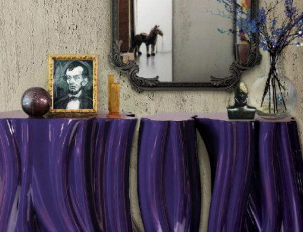 modern sideboard 10 Tips on How to Stylish your Modern Sideboard monochrome purple featured 600x460